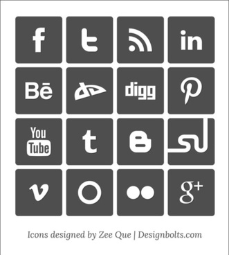 simple vector social media icons set