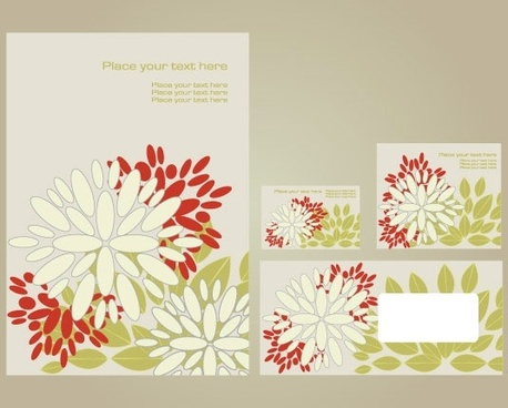simple vi template vector flowers 1