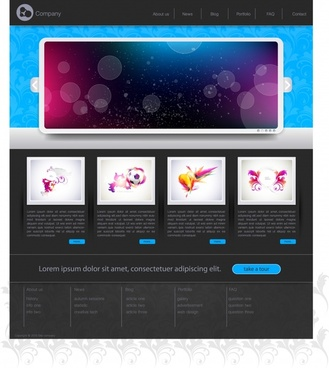 website template modern bokeh decor contrast design