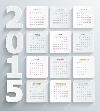 simple white paper15 calendar vector