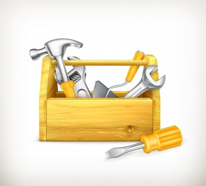 simple wooden toolbox vector