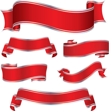 simply red ribbon vector banners set