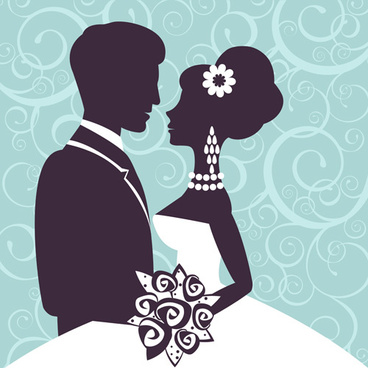 sina with bride wedding vector silhouettes