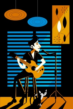 singer playing guitar drawing colored retro design