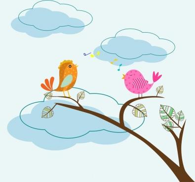 singing birds theme colored cartoon style