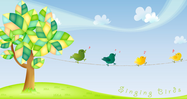 singing birds vector graphics