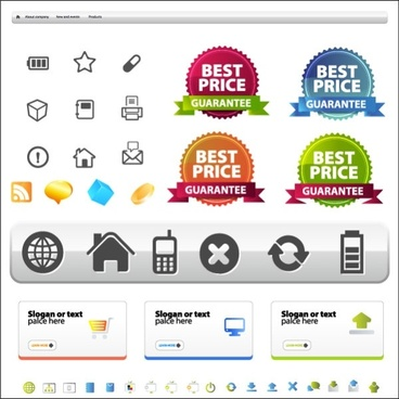 site layout and icons vector