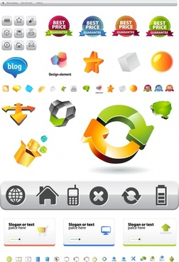 ui sale labels icons collection colored flat 3d