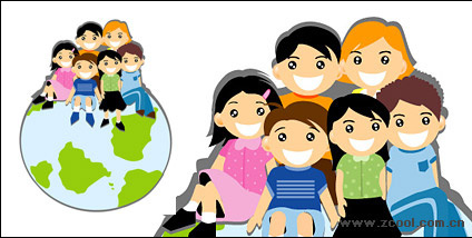 Sitting on the Earth's Children Vector material