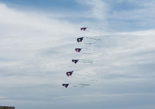 six kites on one line