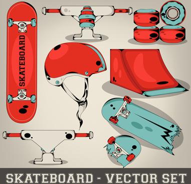 skateboard elements design vector set