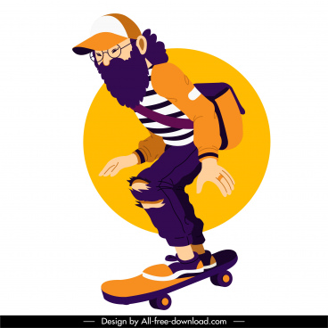 skateboard sports icon bearded man sketch cartoon character