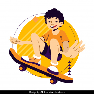 skateboard sports icon young boy sketch dynamic cartoon