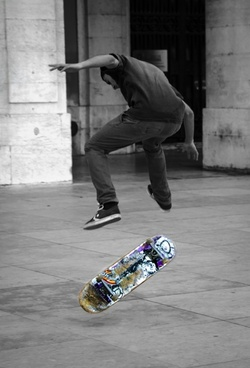 skateboarder performing trick