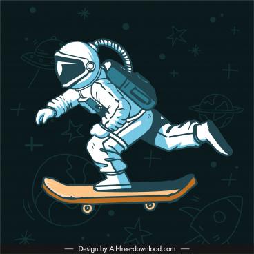 skateboarding astronaut background dynamic handdrawn cartoon