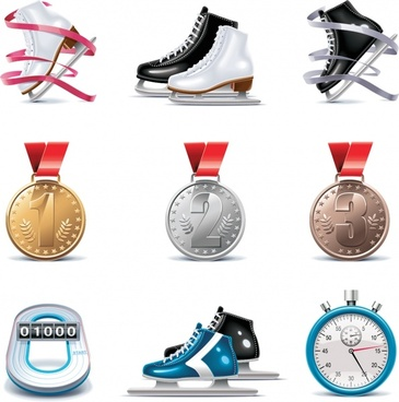 ice skating sports icons colored modern symbols sketch