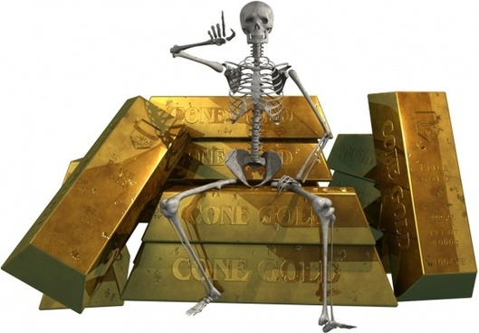 skeleton and gold