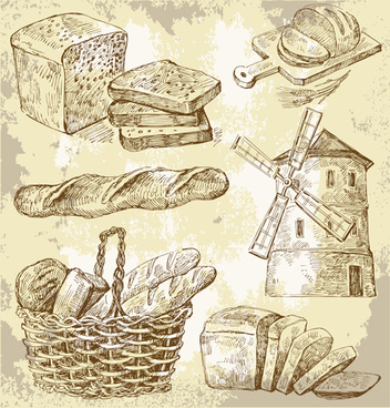 sketch bread and windmills vector