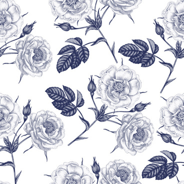 sketch flowers art pattern seamless vector