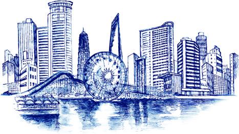 sketch urban building vector