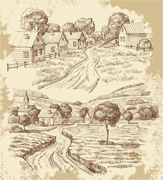 sketch village house vector