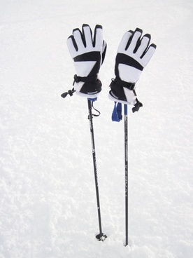 ski poles with gloves
