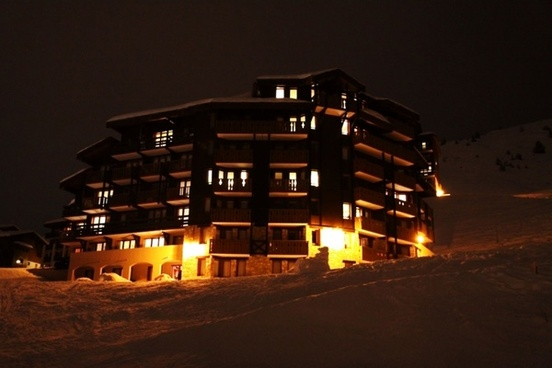 ski resort hotel at night