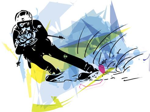 ski watercolor drawing vector