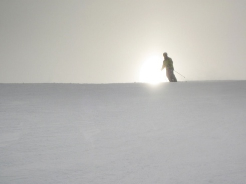 skiing at sunrise