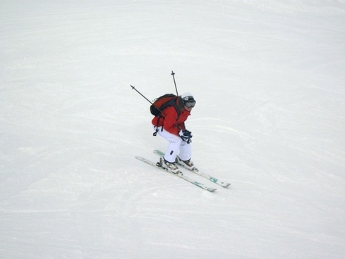 skiing on slope