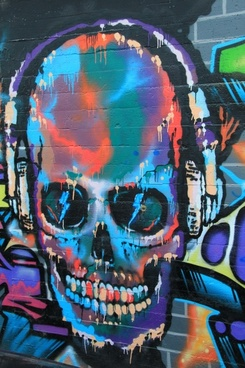skull and crossbones graffiti wall