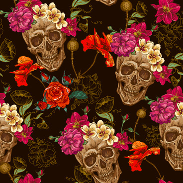 skull and poppies flower seamless pattern vector