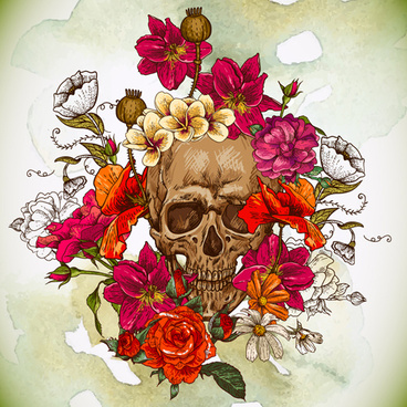 skull and poppies vector background