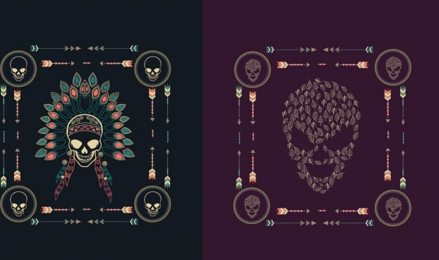skull background sets tribal style dark design