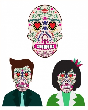 skull mask design elements horror style colorful decoration