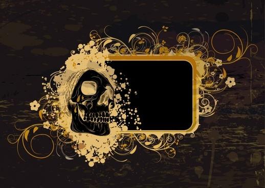 decorative background skull sketch retro design