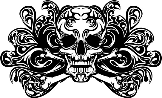 skull tattoo ornament vector