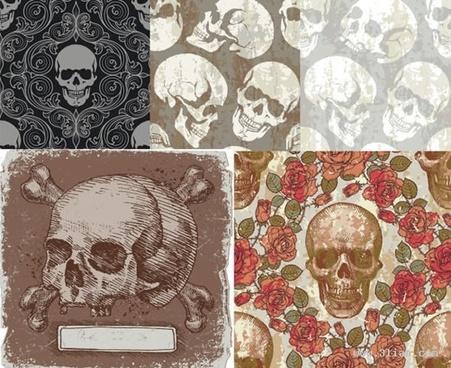 skull theme background vector