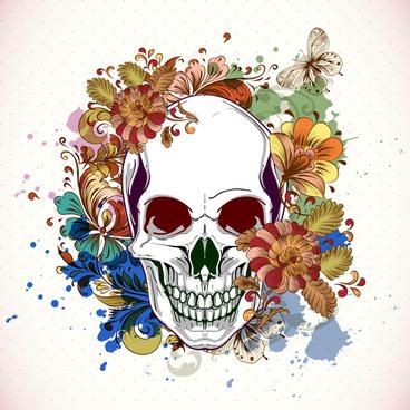 skull with floral design elements