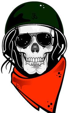 Skull with military helmet vector