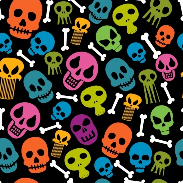skulls bones background colorful repeating style