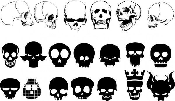 skulls sets collection with various silhouettes styles