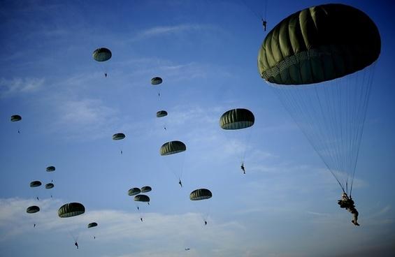 sky clouds parachutes