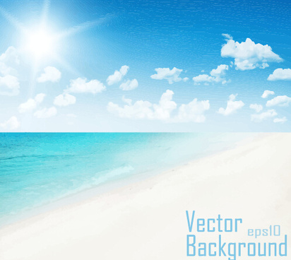 sky clouds with sea and beach vector background