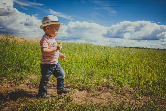 tiny boy walking on meadow