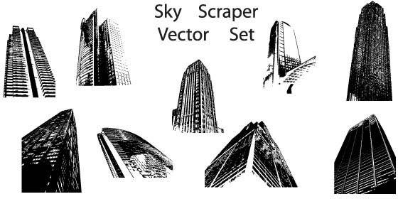 Sky scraper vector set