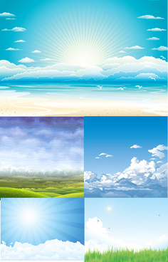 sky vectors blue background