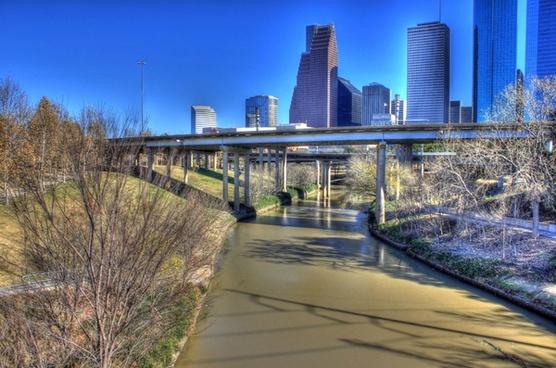 skyline above the bridge in houston texas