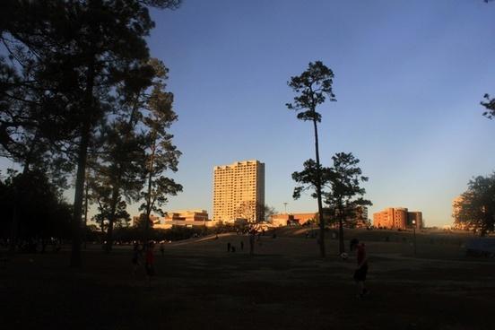 skyline from hermann park in houston texas