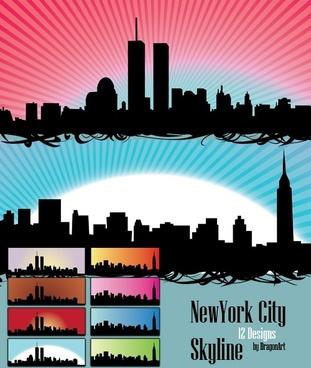 Skyline US NewYork City Vectors